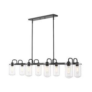 Delaney Matte Black Eight-Light Pendant With Transparent Glass