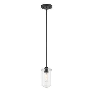 Delaney Matte Black One-Light Mini Pendant With Transparent Glass