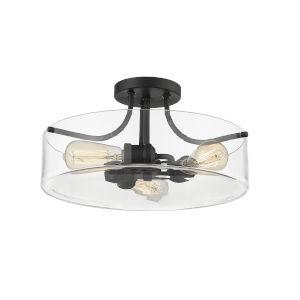 Delaney Matte Black Three-Light Semi Flush Mount With Transparent Glass
