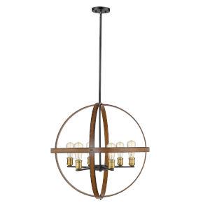 Kirkland Rustic Mahogany Six-Light Pendant