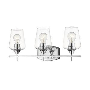 Joliet Chrome Three-Light Vanity with Transparent Glass
