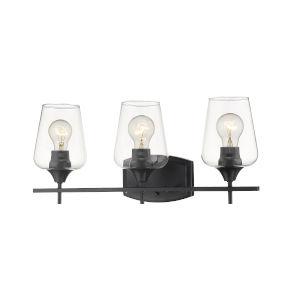 Joliet Matte Black Three-Light Vanity with Transparent Glass