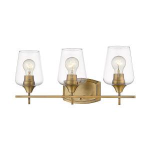 Joliet Olde Brass Three-Light Vanity with Transparent Glass