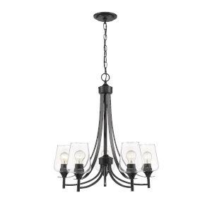Joliet Matte Black Five-Light Chandelier with Transparent Glass