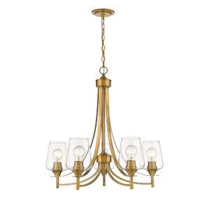 Joliet Olde Brass Five-Light Chandelier with Transparent Glass