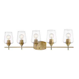 Joliet Olde Brass Five-Light Vanity with Transparent Glass
