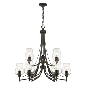 Joliet Matte Black Nine-Light Chandelier