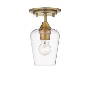 Joliet Olde Brass One-Light Flush Mount with Transparent Glass