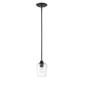 Joliet Matte Black One-Light Mini Pendant with Transparent Glass