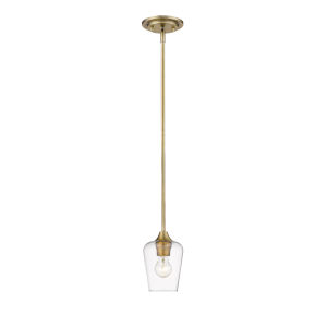 Joliet Olde Brass One-Light Mini Pendant with Transparent Glass