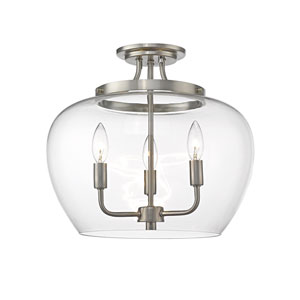 Joliet Brushed Nickel Three-Light Semi Flush Mount