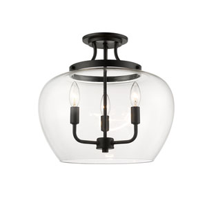 Joliet Matte Black Three-Light Semi Flush Mount
