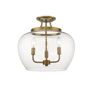 Joliet Olde Brass Three-Light Semi Flush Mount