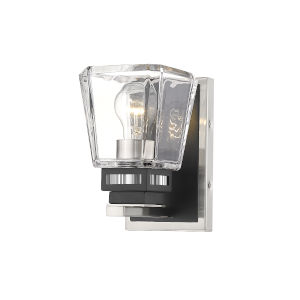 Jackson Brushed Nickel and Matte Black One-Light Wall Sconce with Transparent Glass