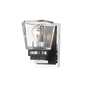 Jackson Chrome and Matte Black One-Light Wall Sconce with Transparent Glass