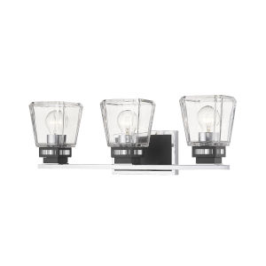 Jackson Chrome and Matte Black Three-Light Vanity with Transparent Glass