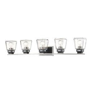 Jackson Brushed Nickel and Matte Black Five-Light Vanity with Transparent Glass