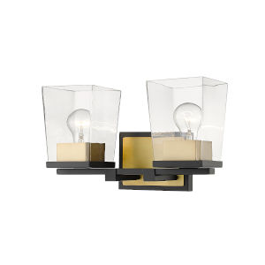 Bleeker Street Matte Black and Olde Brass Two-Light Bath Vanity with Transparent Glass