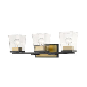 Bleeker Street Matte Black and Olde Brass Three-Light Vanity with Transparent Glass