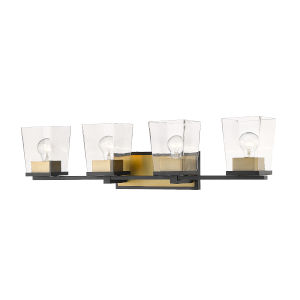 Bleeker Street Matte Black and Olde Brass Four-Light Vanity with Transparent Glass