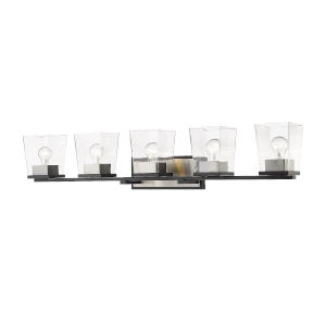 Bleeker Street Matte Black and Brushed Nickel Five-Light Vanity with Transparent Glass