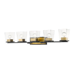 Bleeker Street Matte Black and Olde Brass Five-Light Vanity with Transparent Glass