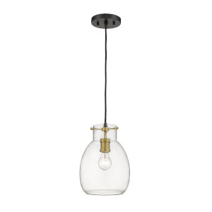Bella Matte Black and Olde Brass One-Light Mini Pendant with Transparent Glass