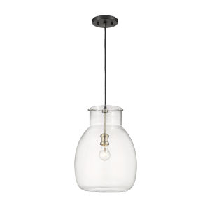 Bella Matte Black and Brushed Nickel One-Light Pendant with Transparent Glass