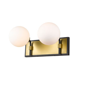 Parsons Matte Black and Olde Brass Two-Light Bath Vanity