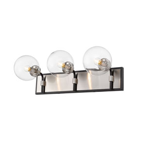 Parsons Matte Black and Brushed Nickel Three-Light Bath Vanity