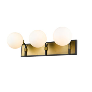 Parsons Matte Black and Olde Brass Three-Light Bath Vanity