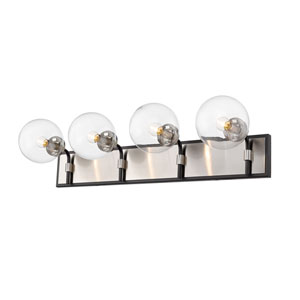 Parsons Matte Black and Brushed Nickel Four-Light Bath Vanity
