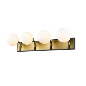 Parsons Matte Black and Olde Brass Four-Light Bath Vanity