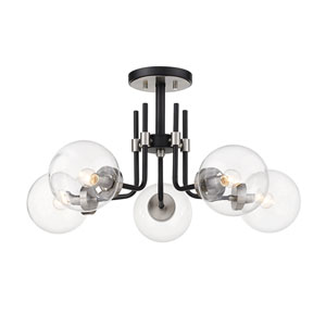 Parsons Matte Black and Brushed Nickel Five-Light Semi Flush Mount