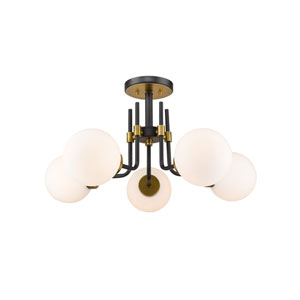 Parsons Matte Black and Olde Brass Five-Light Semi Flush Mount