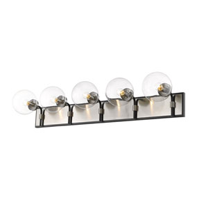 Parsons Matte Black and Brushed Nickel Five-Light Bath Vanity