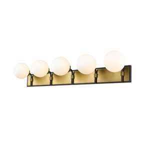 Parsons Matte Black and Olde Brass Five-Light Bath Vanity