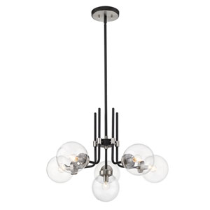 Parsons Matte Black and Brushed Nickel Six-Light Chandelier