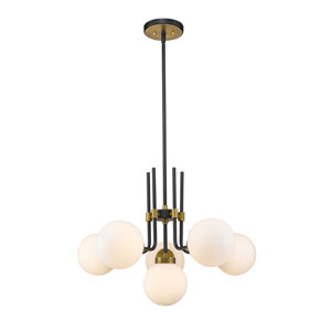 Parsons Matte Black and Olde Brass Six-Light Chandelier
