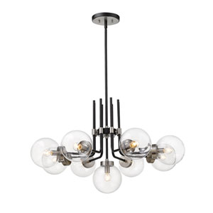 Parsons Matte Black and Brushed Nickel Nine-Light Chandelier