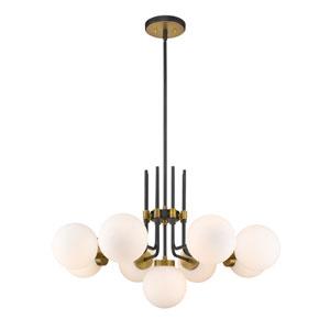 Parsons Matte Black and Olde Brass Nine-Light Chandelier
