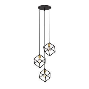 Vertical Bronze and Old Brass Three-Light Pendant
