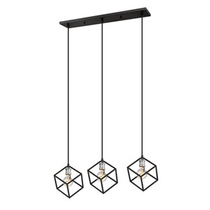Vertical Matte Black and Brushed Nickel Three-Light Island Chandelier
