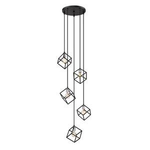 Vertical Matte Black and Brushed Nickel Five-Light Pendant