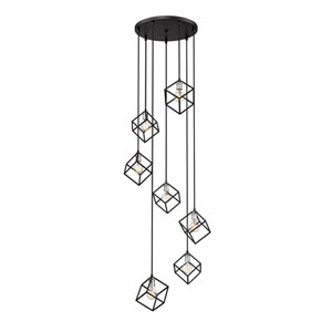Vertical Matte Black and Brushed Nickel 24-Inch Seven-Light Pendant