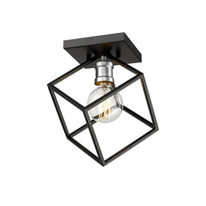 Vertical Matte Black and Brushed Nickel One-Light Flush Mount