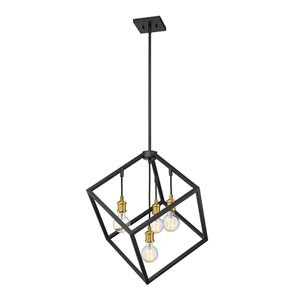 Vertical Bronze and Old Brass 24-Inch Four-Light Pendant