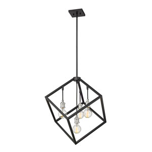 Vertical Matte Black and Brushed Nickel 24-Inch Four-Light Pendant