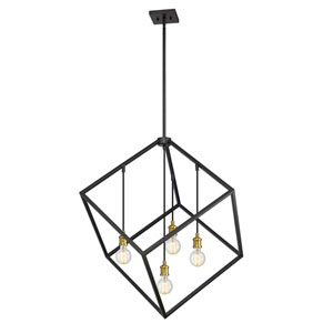 Vertical Bronze and Old Brass 34-Inch Four-Light Pendant