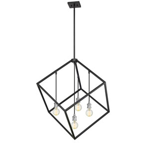 Vertical Matte Black and Brushed Nickel 34-Inch Four-Light Pendant